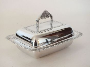 Silver Plated Miniature Entree, Butter Dish With Glass Liner