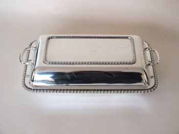 Vintage Entree Dish With Handles, Silver Plated