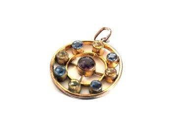 Vintage Circular Necklace Pendant, Gilt With Coloured Rhinestones