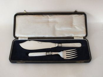 Cased Set Of Antique Silver Plate Fish Servers, Early 1900s