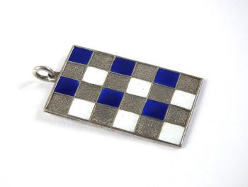 Necklace Pendant, Silver With Blue, White Enamels, Modernist Design