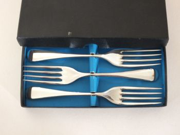 "Boxed Set 3 Fish Forks 6.50"", Viners Sheffield Super A EPNS (Lot #1)"