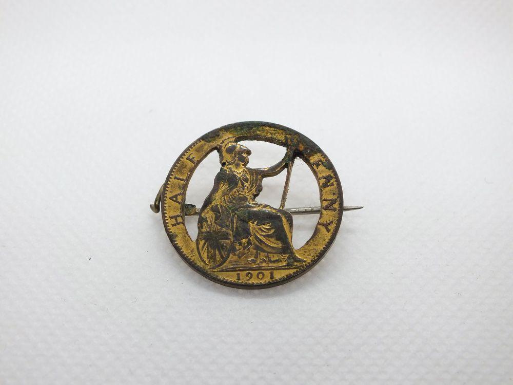 Queen Victoria 1901 Halfpenny Pin Brooch