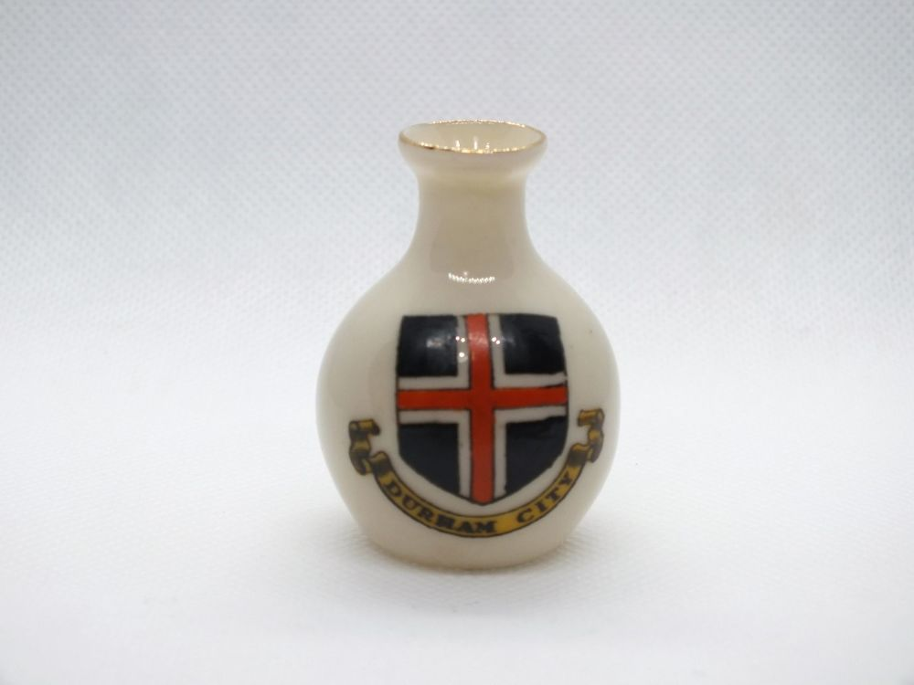 Arcadian Crested  China Vase. Durham City Crest