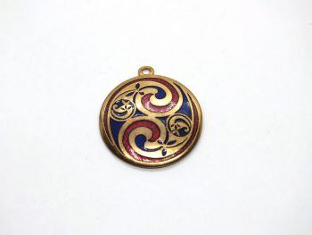 Cloisonne Enamel Necklace Pendant, Sea Gems
