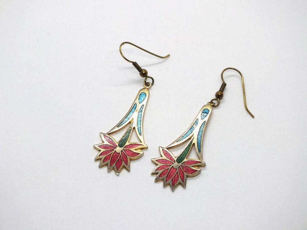 Cloisonne Enamel Flower Drop Earrings