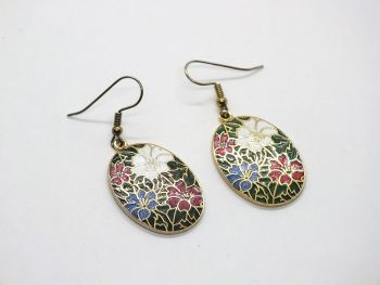 Cloisonne Enamel Flower Drop Earrings