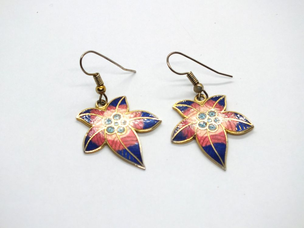 Cloisonne Enamel Leaf Drop Earrings