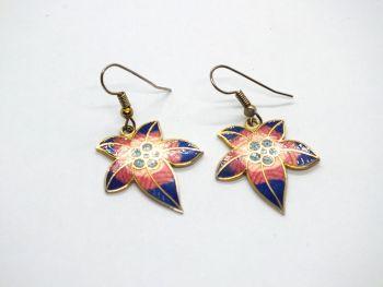 Cloisonne Enamel Leaf Drop Earrings