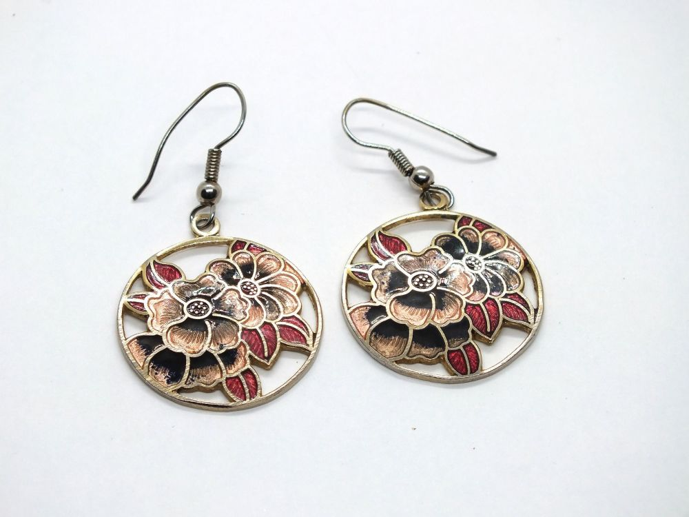 Circular Cloisonne Enamel Earrings