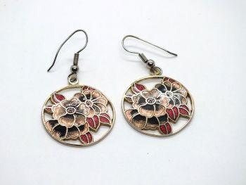 Circular Cloisonne Enamel Flower Earrings