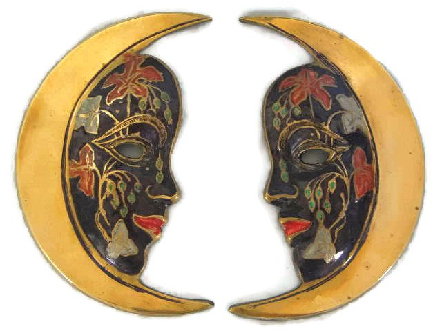 Brass & Enamel Wall Plaques, Half Moon Face