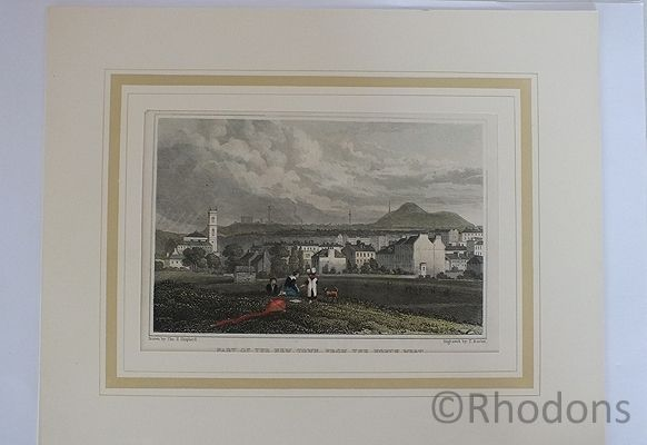 Part Of New Town From North West Edinburgh, Antique Print, Tho H Shepherd / T Barber