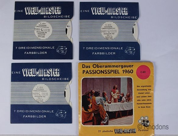 Sawyers Viewmaster 1960 Oberammergau Passion Play, 3 Reel Set, C421 German Edition
