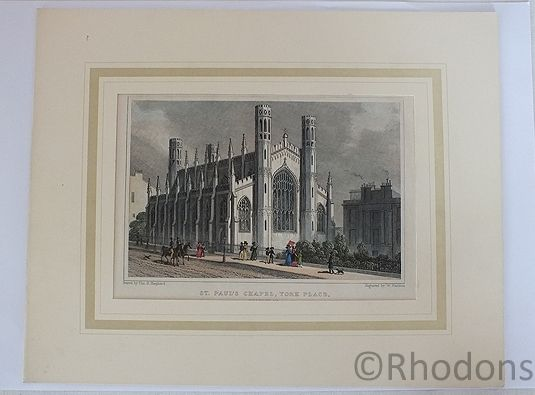 St Pauls Chapel York Place, Edinburgh. Antique Engraving, Tho H Shepherd / W Watkins