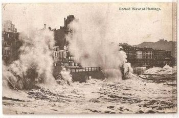 Sussex: Hastings, Record Waves. Circa 1915