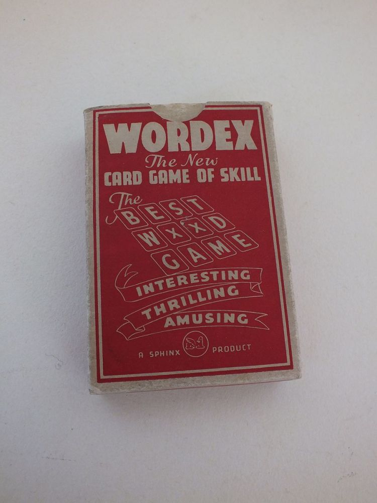 Wordex Playing Card Game With Box, Sphinx, Circa 1930s