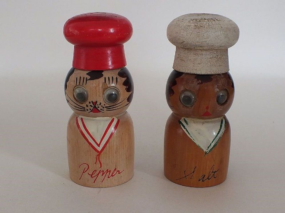 Wooden Salt & Pepper Shakers, Cruet Set, Chefs