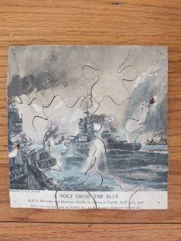 HMS Warspite Destroyer Flotilla at Narvik 1940 After Frank Mason. Vintage Jigsaw Puzzle