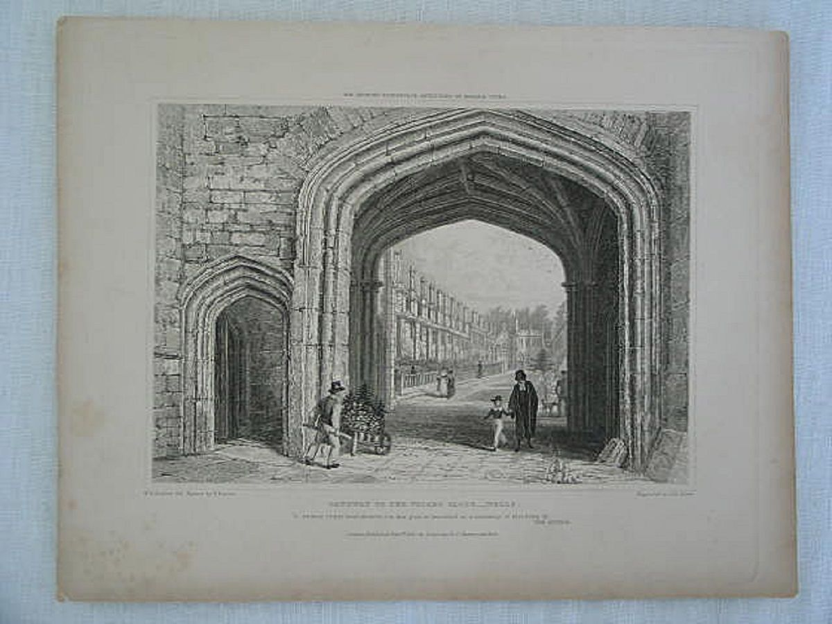 Wells, Somerset, Gateway To The Vicars Close. Antique Print, J Le Kreux / Bartlett & Baynes