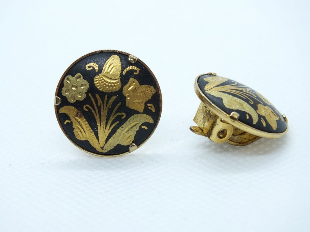 Vintage Toledo Damascene Clip On Earrings