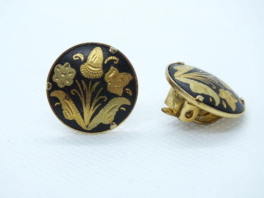 Vintage Toledo Damascene Clip On Earrings
