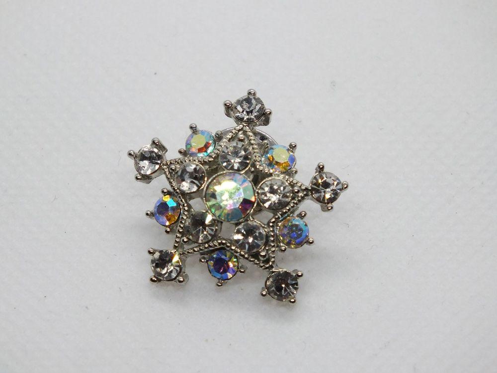 Vintage Aurora Borealis Rhinestone Paste Costume Pin Brooch, Snowflake Design
