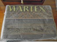Martex Percale Twin Flat Bed Sheets - Memento Pattern. 1970s Retro