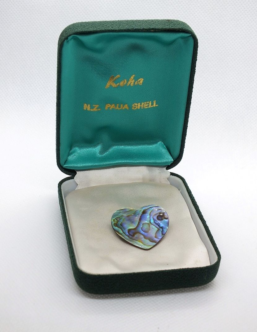 Paua Shell Heart Pin Brooch With Presentation Box