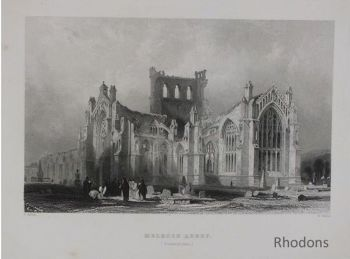 Melrose Abbey Roxburghshire, Scotland Antique Engraving By T Allom & R Wallis