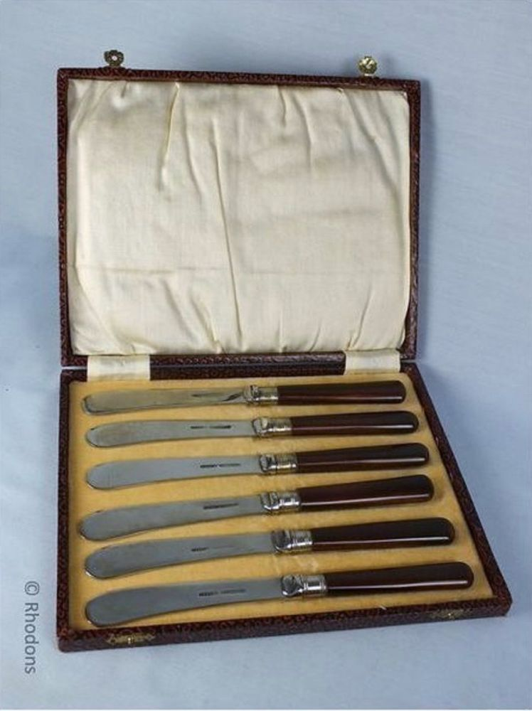 Butter Knives, Cased Set of 6, 1950s Retro