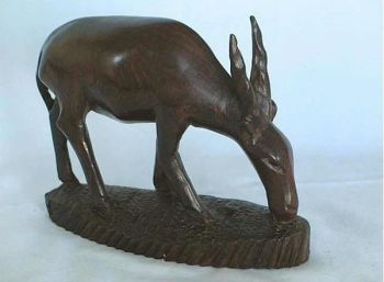 Carved Wood Animal Figure Gazelle, Antelope