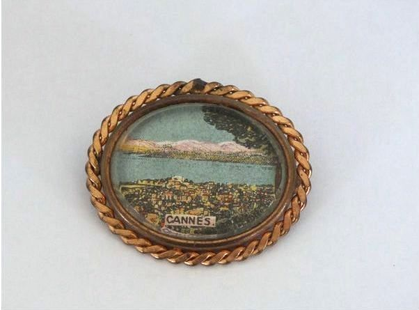 Vintage Travel Souvenir Pin Brooch, Cannes. Circa 1930s