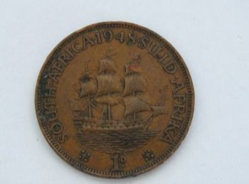 1948 King George VI South Africa Copper 1d Penny Coin