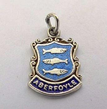 Aberfoyle Scotland, Vintage Silver & Enamel Travel Shield Bracelet Charm, Circa 1960s