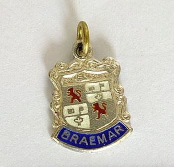 Silver & Enamel Travel Shield Bracelet Charm, Braemar, Scotland