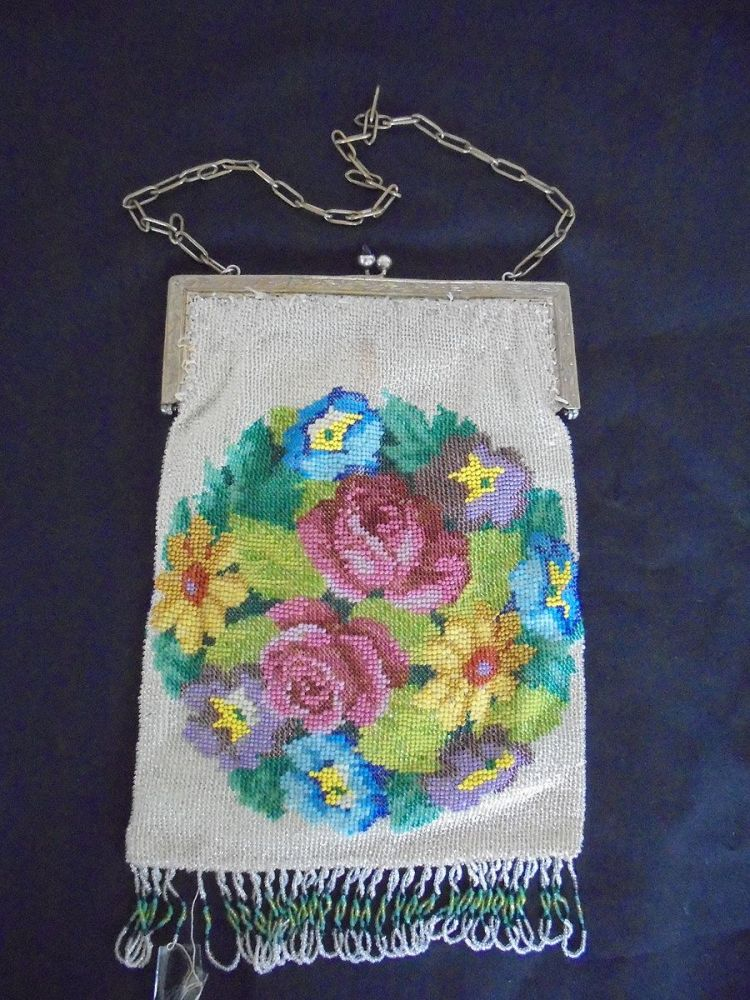 Antique Glass Beaded Evening Bag Purse and Mirror Circa 1920s