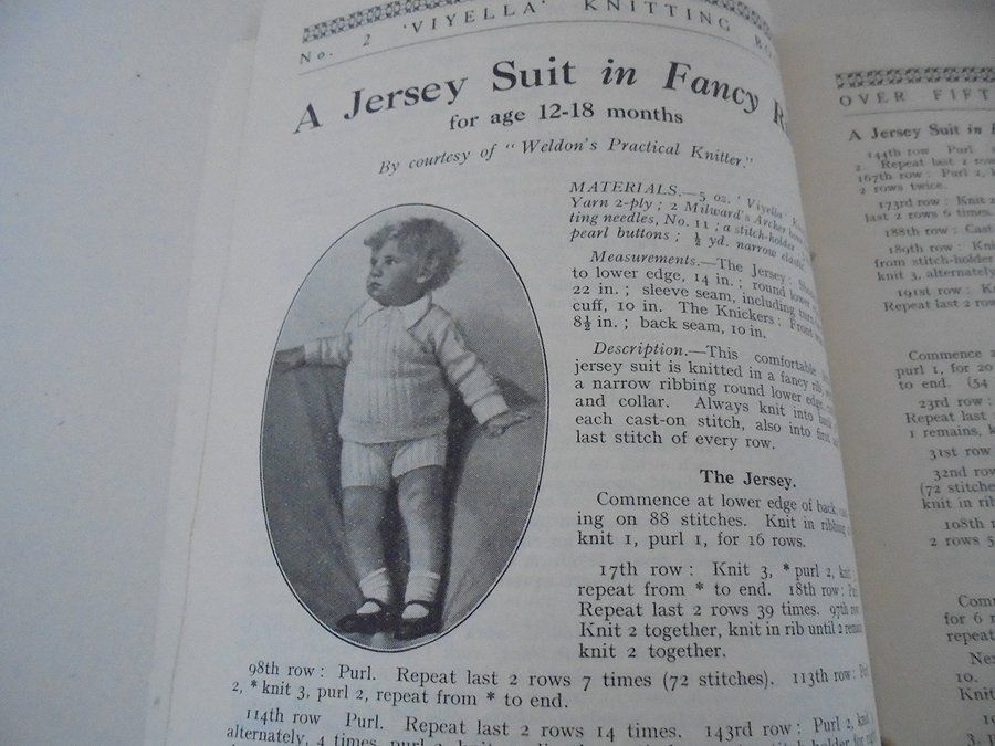 Viyella Baby Knitting Pattern Book No 2 Babies Garments. Over 50 Garments. Circa 1930s