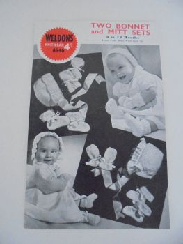 Baby Bonnet and Mitt Sets Knitting Pattern By Weldons. #A946.  Circa 1940s