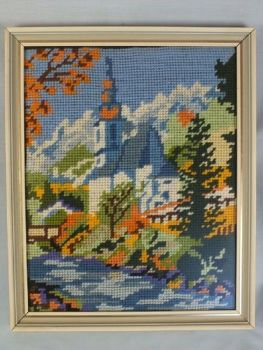 Needlepoint Wool Tapestry, Chapel Beside A River