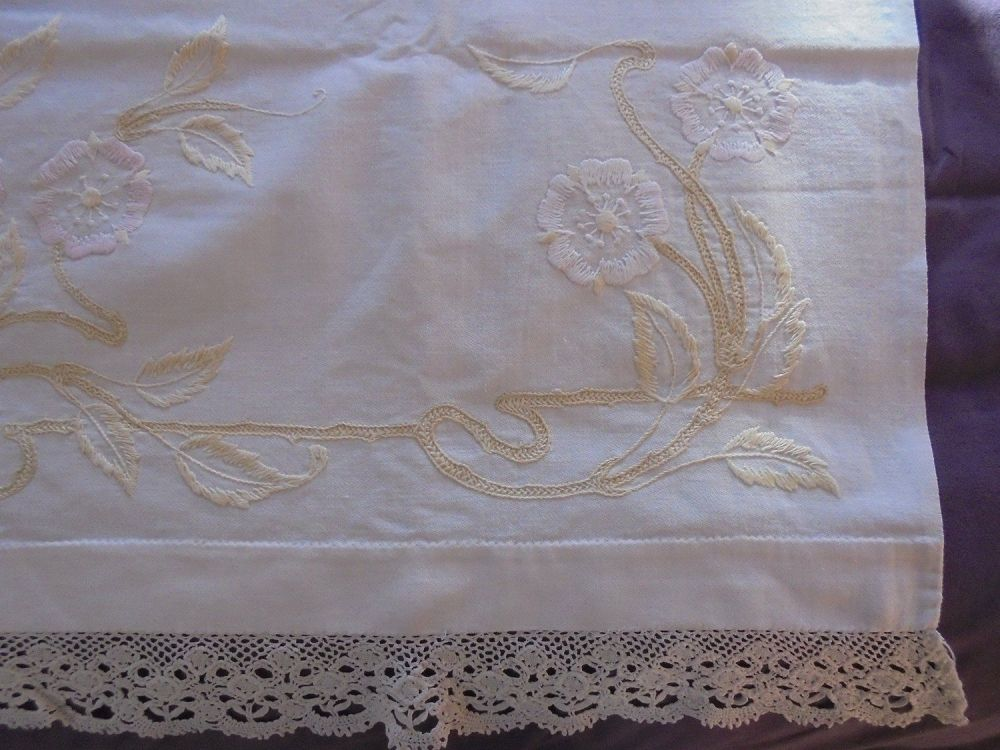 Antique Linen Bath Towel, Hand Made With Embroidery And Lace Trim. Victorian, Edwardian Era