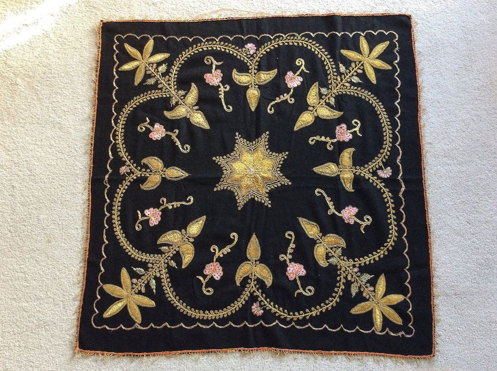 Antique Turkish Tablecloth. Couched Gold Metallic Work On Wool. Early 20th Century