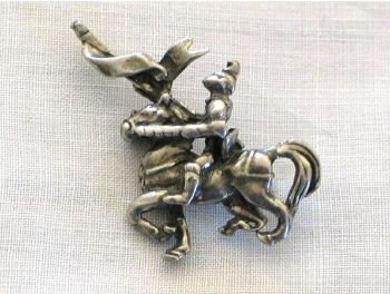 Hollywood Jewellery Pin Brooch, Medieval Knight On Horse
