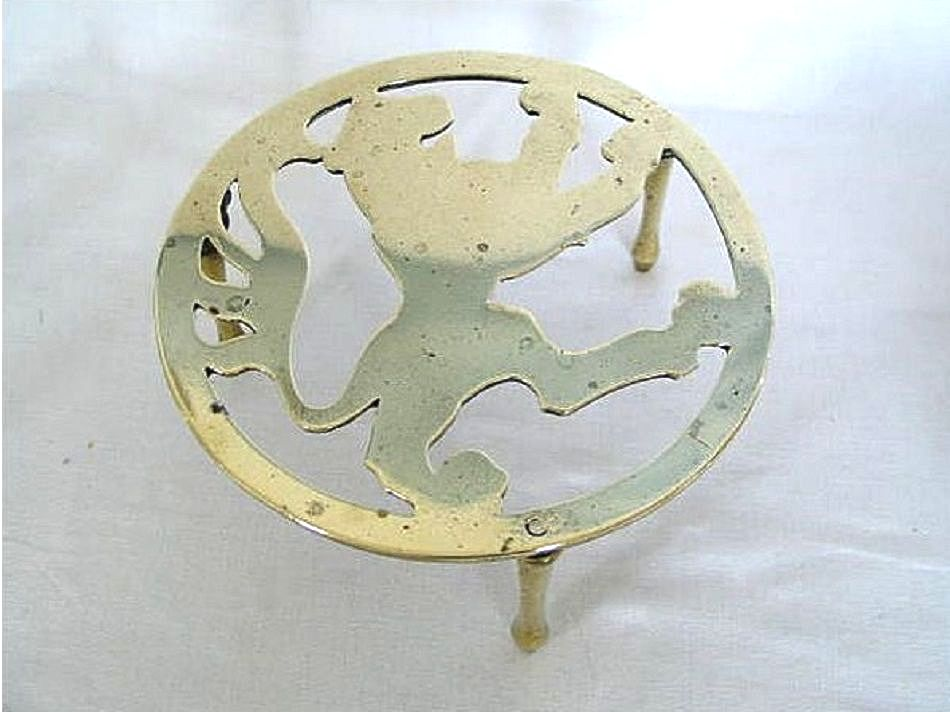 Fireside Trivet, Cast Brass, Lion Rampant Decoration