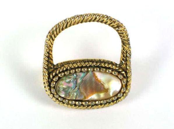 Vintage Abalone Shell Pin Brooch, Unusual Shape