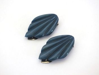 Art Deco Dress Clips, Blue Moulded Plastic, Circa 1930s