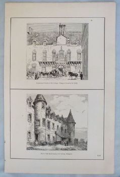 Old College Glasgow, Circa 1880s. Antique Scottish Print,