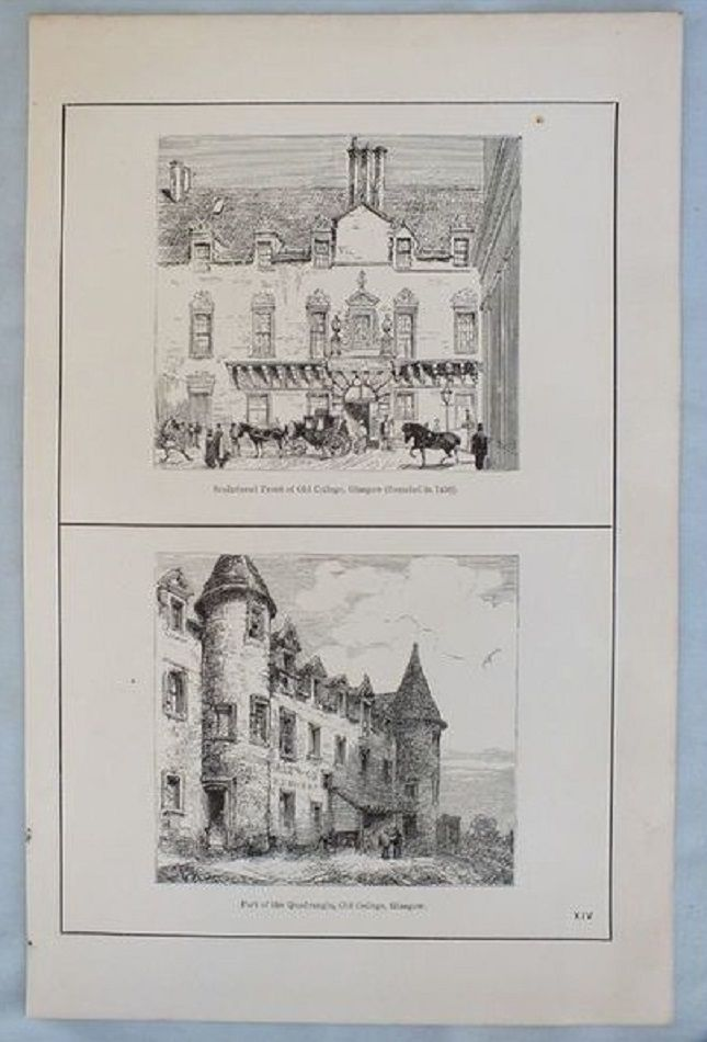 Antique Scottish Print, Old College Glasgow, Circa 1880s.