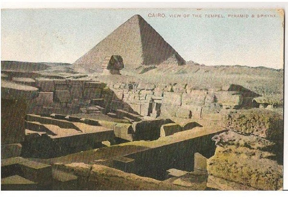 Egypt: View of the Temple, Pyramid & Sphinx, Cairo. Early 1900s Postcard