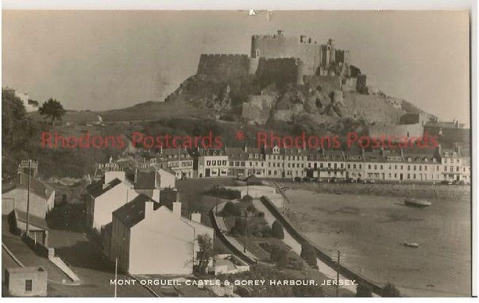 Channel Islands: Mont Orgueil Castle & Gorey Harbour, Jersey. 1950s Real Photo Postcard